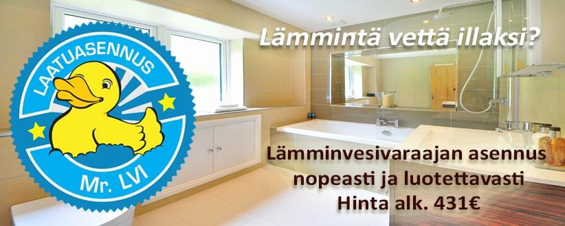 Lämminvesivaraajan asennus, hinta alk. 431€